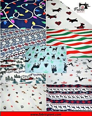 £5.89 • Buy Printed Brushed Brush Flannel 100% Cotton, Christmas Print Design High Quality