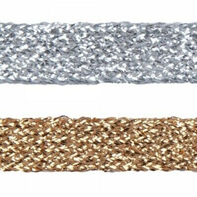 £2.85 • Buy Essential Trimmings 11mm Metallic Braid Sparkly Trim Gold Or Silver