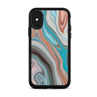Skins For IPhone X Otterbox Defender Stickers - Teal Blue Brown Stone Marble • 7.01£