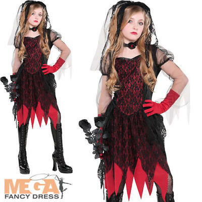 Zombie Bride Girls Fancy Dress Halloween Deadly Wed Kids Teens Costume Outfit • 15.49£