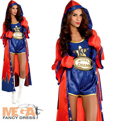 £30.49 • Buy Boxer Ladies Fancy Dress Sports Champion Occupation Womens Adults Costume Outfit