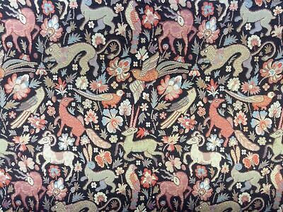 Traditional Vintage Woodland Tapestry Designer  Curtain/Upholstery Fabric Black • 1.99£