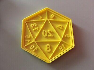 3D Printed Cookie Dough Cutter Biscuit Stamp D20 Dice - Dungeons And Dragons • 4.99£