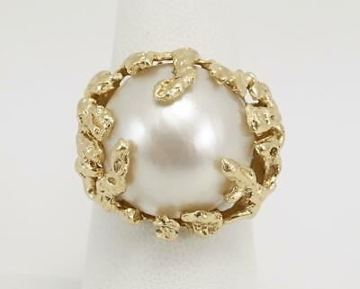 $539.91 • Buy 14K Yellow Gold Ladies Sz 7 3/4 Chunky Cocktail Ring W/ White Mabe Pearl 11.8g