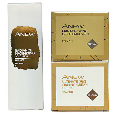 Avon Anew Ultimate Set - Day Cream + Gold Emulsion Night + Gold Peel-Off Mask • 19.99£