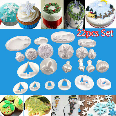 22x Christmas Cookies Plunger Cutter Mould Fondant Cake Decor Biscuit Icing Mold • 7.99£