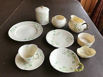 Belleek Pottery Collection 10 Pieces In Shamrock Design • 55£