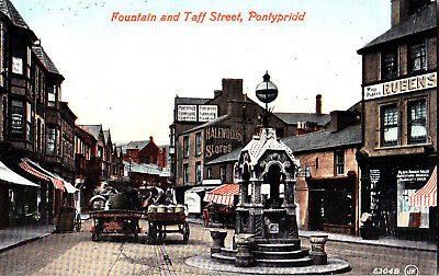 Pontypridd Fountain And Taff Street Rubens Shop Two Carts In Street C1910 Valent • 17£