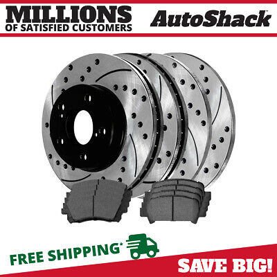 $116.68 • Buy Front & Rear Performance Drilled Slotted Brake Rotors & Ceramic Pads Kit