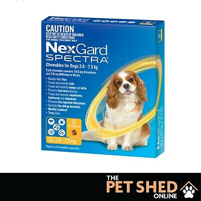 AU97.45 • Buy Nexgard Spectra Worm Tick Flea Small Dogs 3.6-7.5 Kg Yellow Chewable 6 Pack