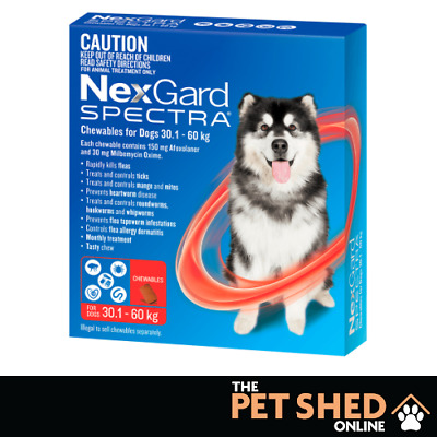AU123.90 • Buy Nexgard Spectra Worm Tick Flea Extra Large Dogs 30.1 - 60 Kg Red Chewable 6 Pack