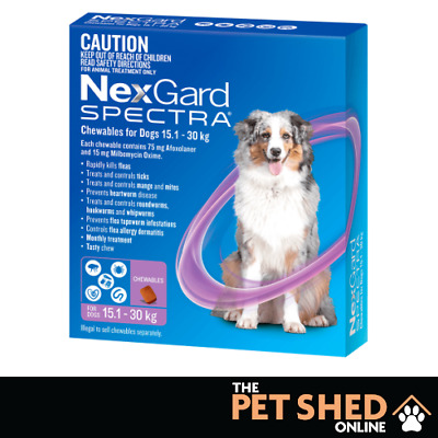 AU122.90 • Buy NexGard Spectra Worm Tick Flea Large Dogs 15.1 - 30 Kg Purple 3 OR 6 Pipettes