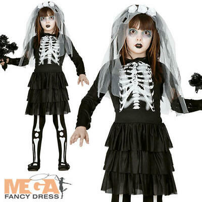 Skeleton Bride Girls Fancy Dress Spooky Skull Kids Halloween Costume Outfit New • 12.49£