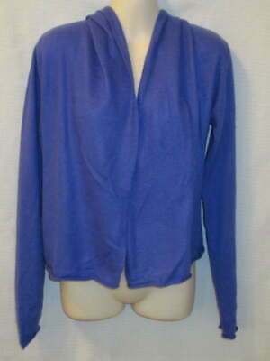 $17.95 • Buy Cote D'Azur 100% Cashmere Blue Open Front Hooded Cardigan S May Fit XS