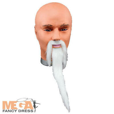 White Wizard Beard & Tash Fancy Dress Halloween Book Chinese Man Costume Access • 6.49£