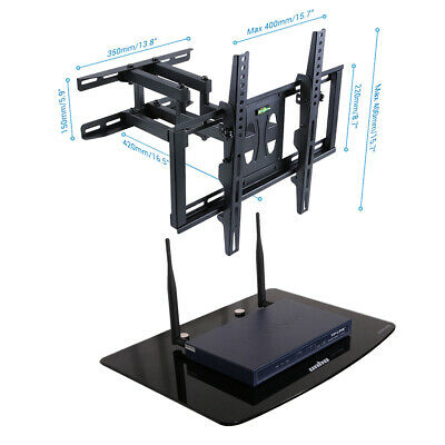 Tilt & Swivel TV Wall Mount Bracket With AV Wall Floating Shelf Glass Shelves • 36.39£