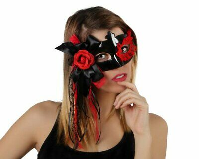 Party Eye Mask With Flower Decoration - Masked Ball Accessory - Black/Red • 4.39£
