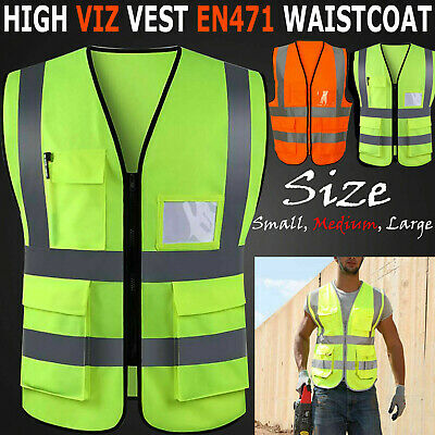 Medium, Green BLUE HI VIS VESTS Hi Viz RED PINK PURPLE BLACK GREEN