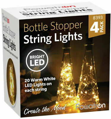 4 Pack Bottle Stopper String Lights With 80 LEDs - Christmas Table Decoration  • 5.99£