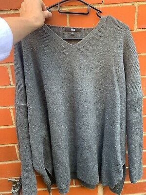 AU15 • Buy Uniqlo Wool Blend Oversized Jumper Size M Dark Grey