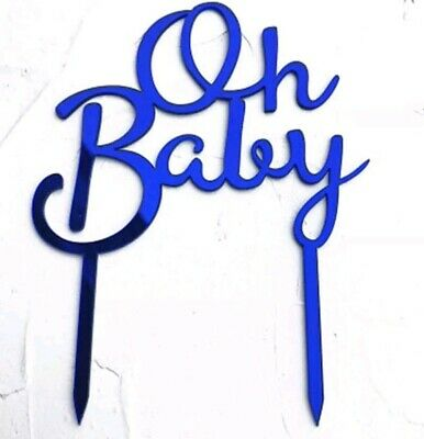 AU9.95 • Buy Acrylic Blue 'Oh Baby' Cake Topper Baby Shower Toppers Boy First 1st Birthday