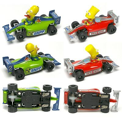 2014 Micro Scalextric Bart & Homer SIMPSON Indy F1 HO Slot Car Simpsons NEW PAIR • 42.88£