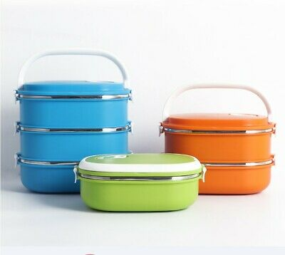 AU19.84 • Buy Multiple Layered Stainless Steel Insulated Bento Lunch Box Food Container