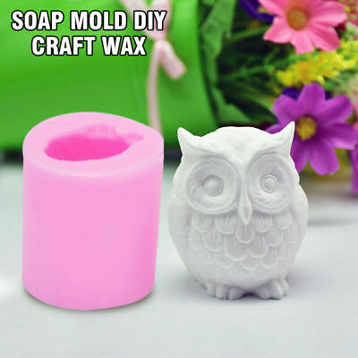3D Silicone Owl Bird Candle Molds Soap Mold DIY Craft Wax Resin Mould Gift • 1.99£