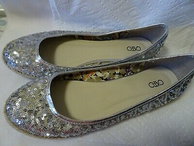 $8 • Buy Cato Women's Flats Slip On Shoes Size 9M-Silver-Sequined-Round Toe-Jute Trim-euc