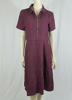 Brora 100% Linen Dress Zip Up Short Sleeve Size UK 14 With Pockets  • 49.99£