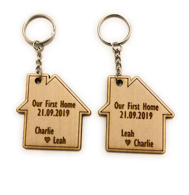 2 X Personalised Keyrings Our First Home Wooden Gift House Warming • 4.99£