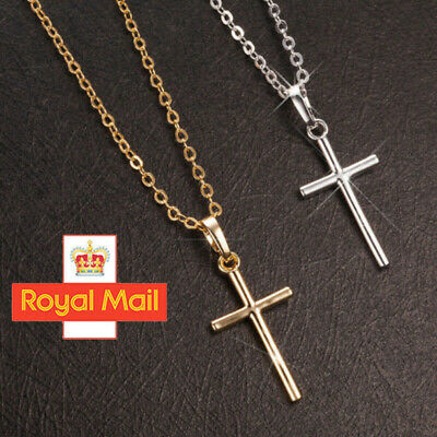 Cross Pendant Stainless Steel Silver Chain Necklace Women Lady Jewellery Gifts • 2.39£