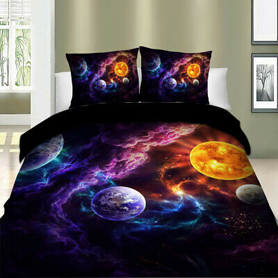 AU37.59 • Buy Galaxy Clouds Doona Duvet Quilt Cover Set Single/Double/Queen/King Size Bedding