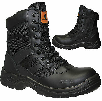£29.90 • Buy Mens Army Military Police Safety Boots Steel Toe Cap Combat Work Womens Shoes Sz