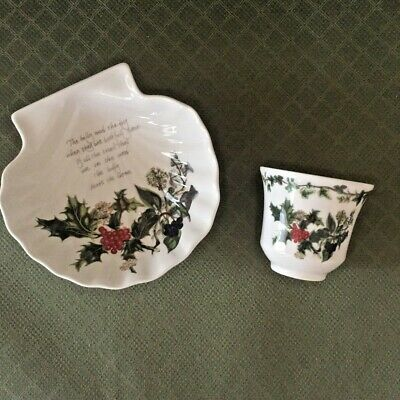 Portmeirion THE HOLLY AND THE IVY  -  Scallop Shell Dish And Votive Candle • 34$