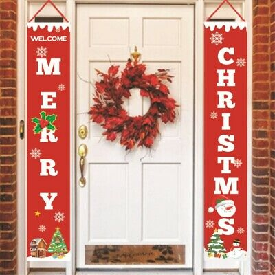 $12.99 • Buy Christmas Banner Indoor Outdoor Door Display Decal Decorations Xmas Hanging Sign