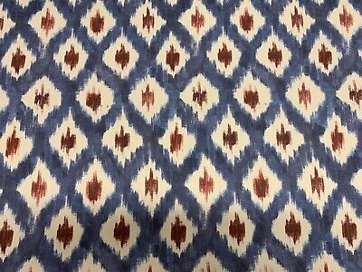 Mika Ikat Blue Red Cotton  Chess Design 140cm Wide Curtain/Upholstery Fabric  • 2.99£