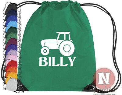 AU16.68 • Buy Personalised Tractor Farm Sports Kit Bag. Drawstring PE School Add Child's Name