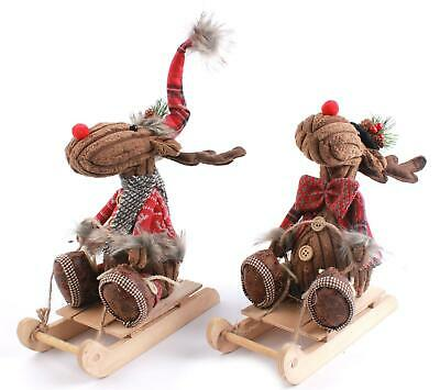 £15.99 • Buy Brown Fabric Reindeer On Wooden Sledge Christmas Decor Each Sold Individually