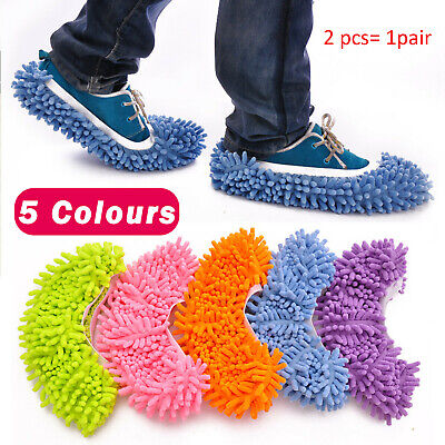 Duster Microfibre Shoe Sock Slippers Mop Dust Remover Cleaning Floor Polisher Uk • 3.99£