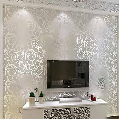 10m Silver Grey Victorian Damask Wallpaper 3D Embossed Featured Wall Cover Roll • 35.99£