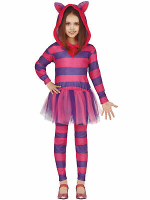Girls Cheshire Cat Costume Kids Wonderland Kitty Fancy Dress Book Week Outfit • 16.95£