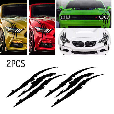 $8.49 • Buy 2pcs 15''Black Monster Claw Marks Decal Reflective Sticker For Car Headlight NEW