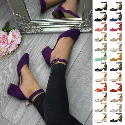 Womens Ladies Low Mid Heel Bridesmaid Ankle Strap Work Formal Court Shoes Size • 18.99£