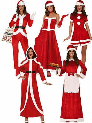 Ladies Mrs Claus Costume Santa Christmas Fancy Dress Xmas Grotto Womens Outfit • 14.95£