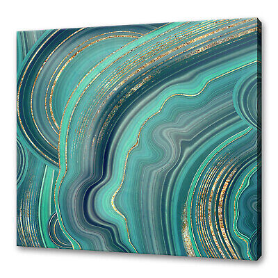 £19.99 • Buy Malachit Agate With Mint Green Gold Veins Abstract Canvas Print Wall Art Picture
