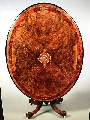 Absolutely Stunning Victorian Tilt Top Table With Intricate Inlaid Marquetry • 790£