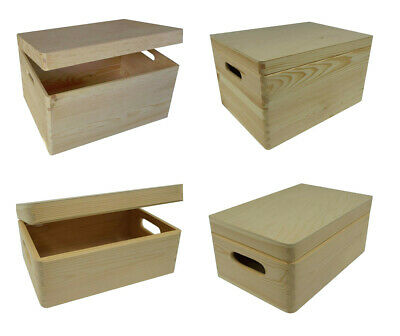 Wooden Storage Box With Lid And Handles / Pinewood Toy Chest Trunk • 19.99£