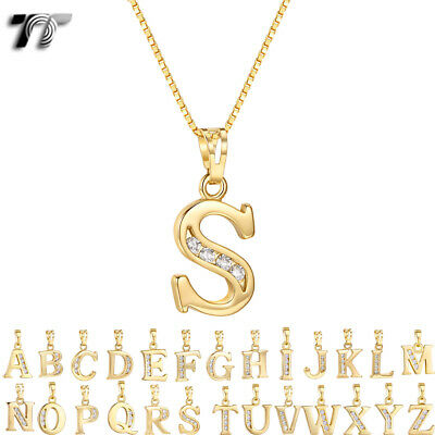 AU15.99 • Buy TT 18K Gold GP Inital Letter Pendant Necklace With Box Chain (NP327)  NEW