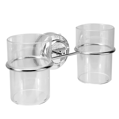 Suction Cup Double Toothbrush Tumbler Holder  Bathroom Cup Holder M&W • 6.99£